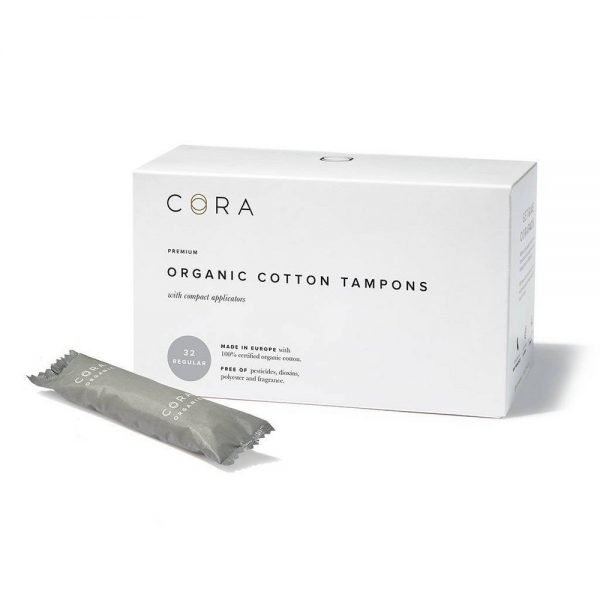 Cora Organic Cotton Tampons - Regular - 32ct, White